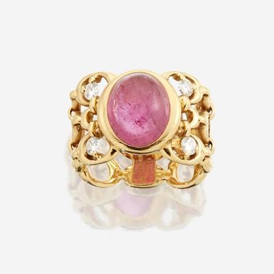 Lot 165 - An eighteen karat gold, pink tourmaline, and diamond ring, Christian Dior