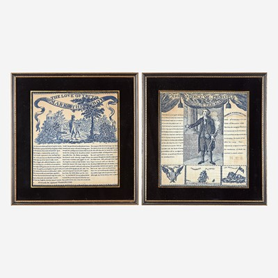 Lot 5 - Two copperplate-printed George Washington commemorative handkerchiefs in blue