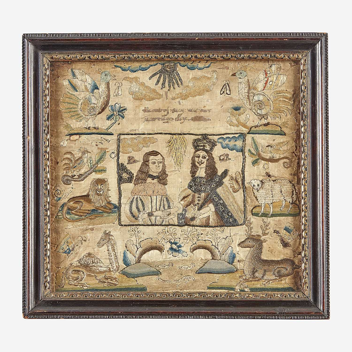 Lot 19 - A Charles II commemorative embroidered panel