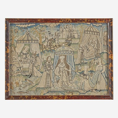 Lot 20 - A Charles II canvaswork picture depicting scenes from The Book of Esther
