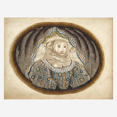 Lot 22 - An English stumpwork and beadwork portrait of a lady