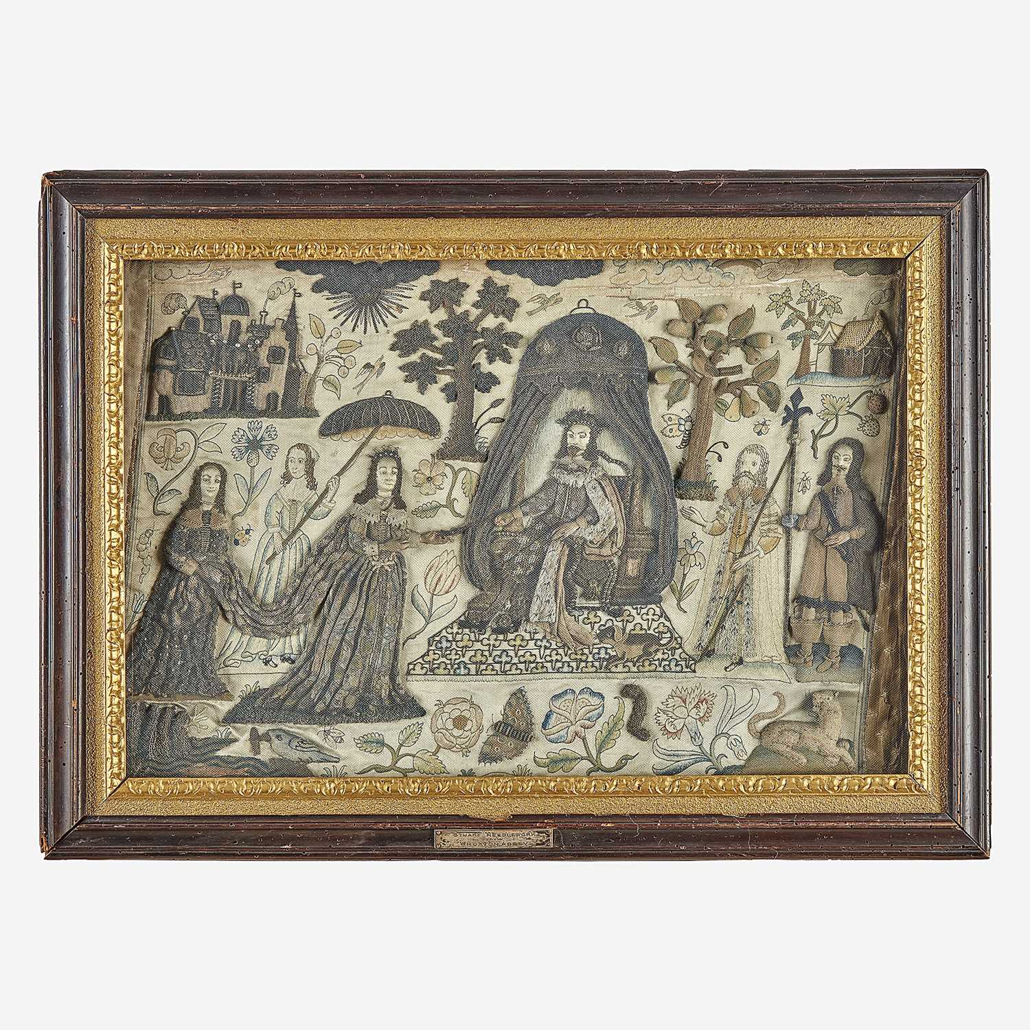 Lot 21 - An embroidered stumpwork panel of King Solomon receiving The Queen of Sheba