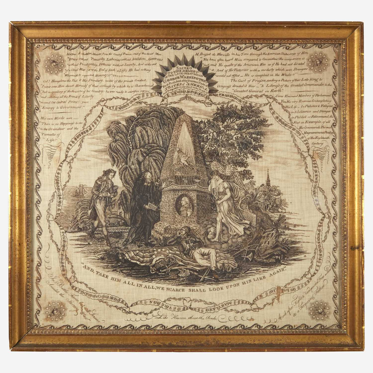 """Lot 8 - A rare copperplate-printed handkerchief, """"Sacred to the Memory of George Washington"""""""