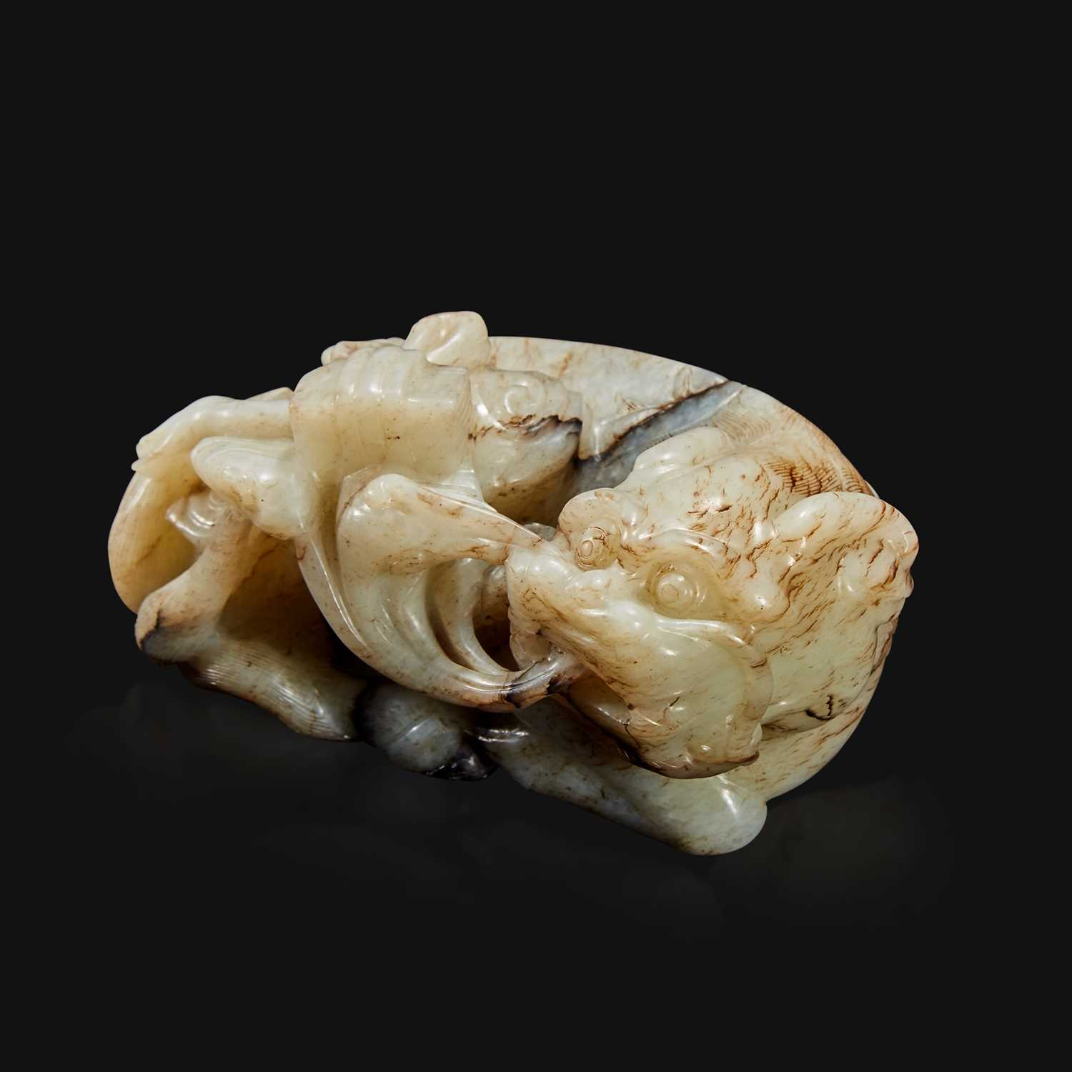 Lot 88 - A Chinese carved jade figure of recumbent qilin