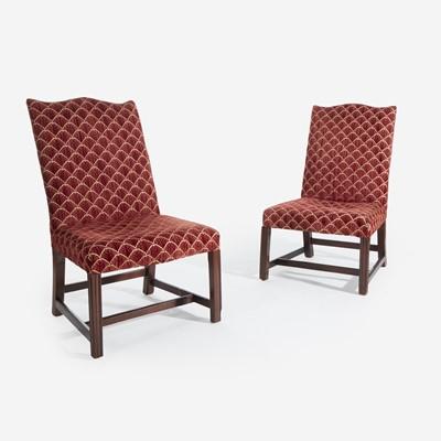 Lot 74 - A pair of Chippendale mahogany backstools