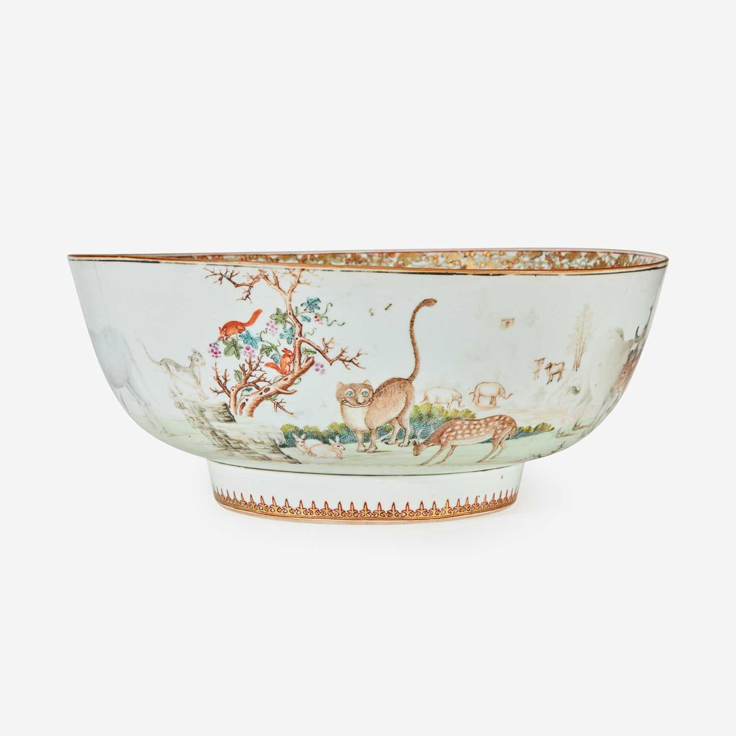 Lot 91 - A Chinese Export porcelain gilt and polychrome decorated punch bowl