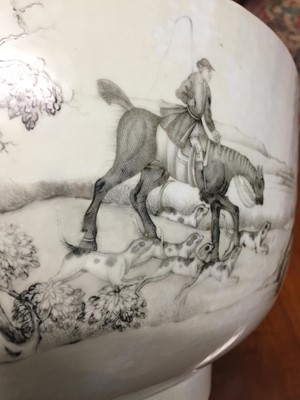 Lot 93 - A Chinese Export porcelain grisaille decorated punch bowl with hunt scenes