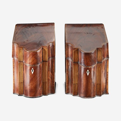Lot 142 - A pair of George III inlaid mahogany knife boxes
