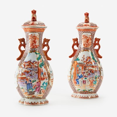 Lot 107 - A pair of Chinese Export porcelain Rose Mandarin covered vases