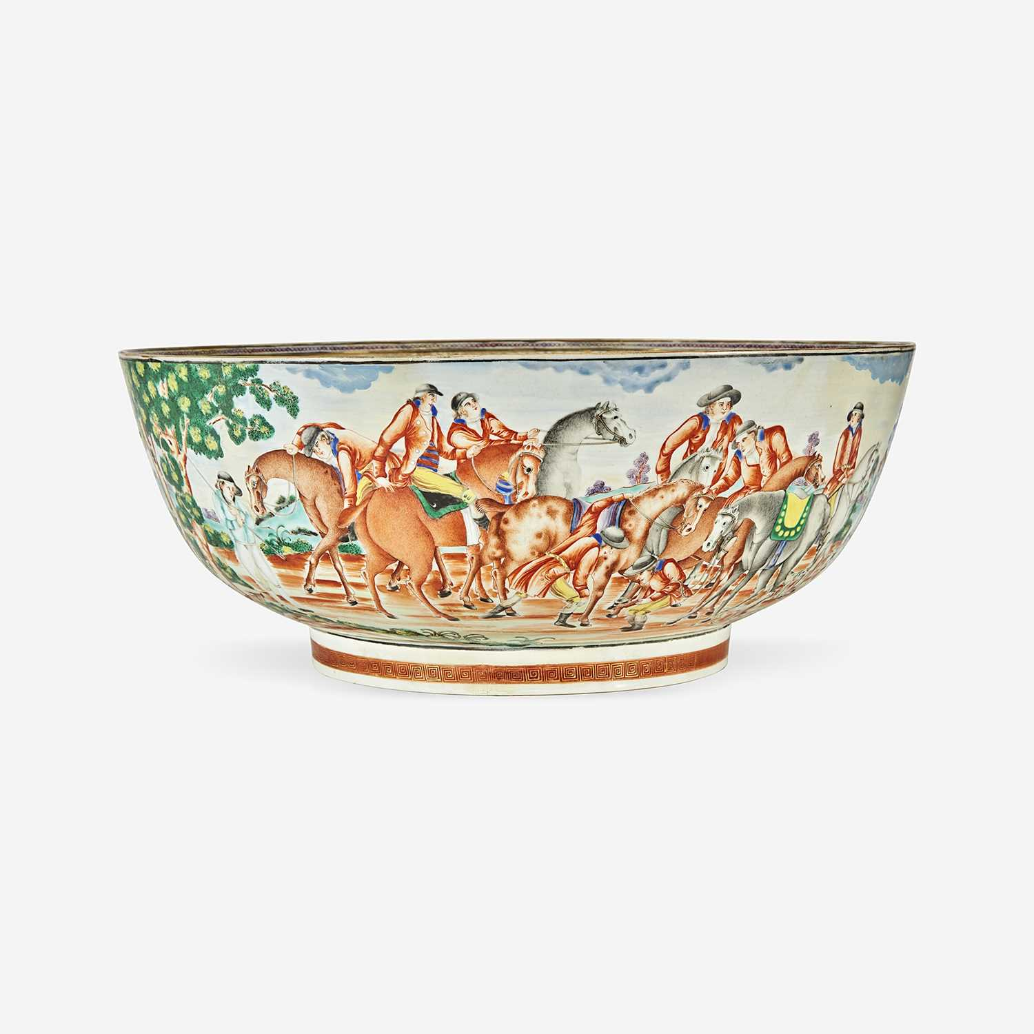 Lot 92 - A Chinese Export porcelain gilt and polychrome decorated punch bowl with hunt scene
