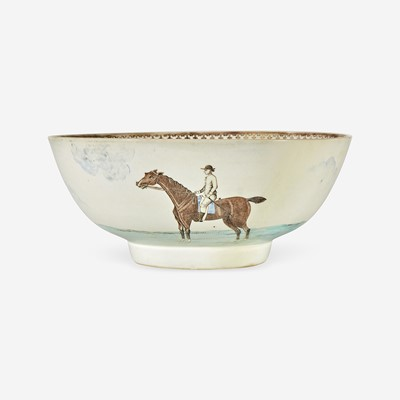 Lot 94 - A Chinese Export porcelain gilt and polychrome decorated punch bowl with horses and riders