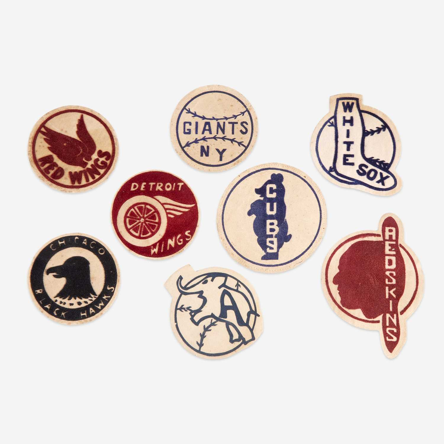 Lot 233 - Eight flocked warming jacket patches for baseball, football, and hockey