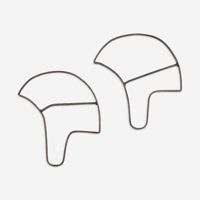 Lot 236 - Two steel football helmet manufacturing patterns