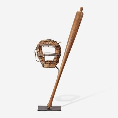 Lot 240 - A baseball assemblage: professional bat and catcher's mask