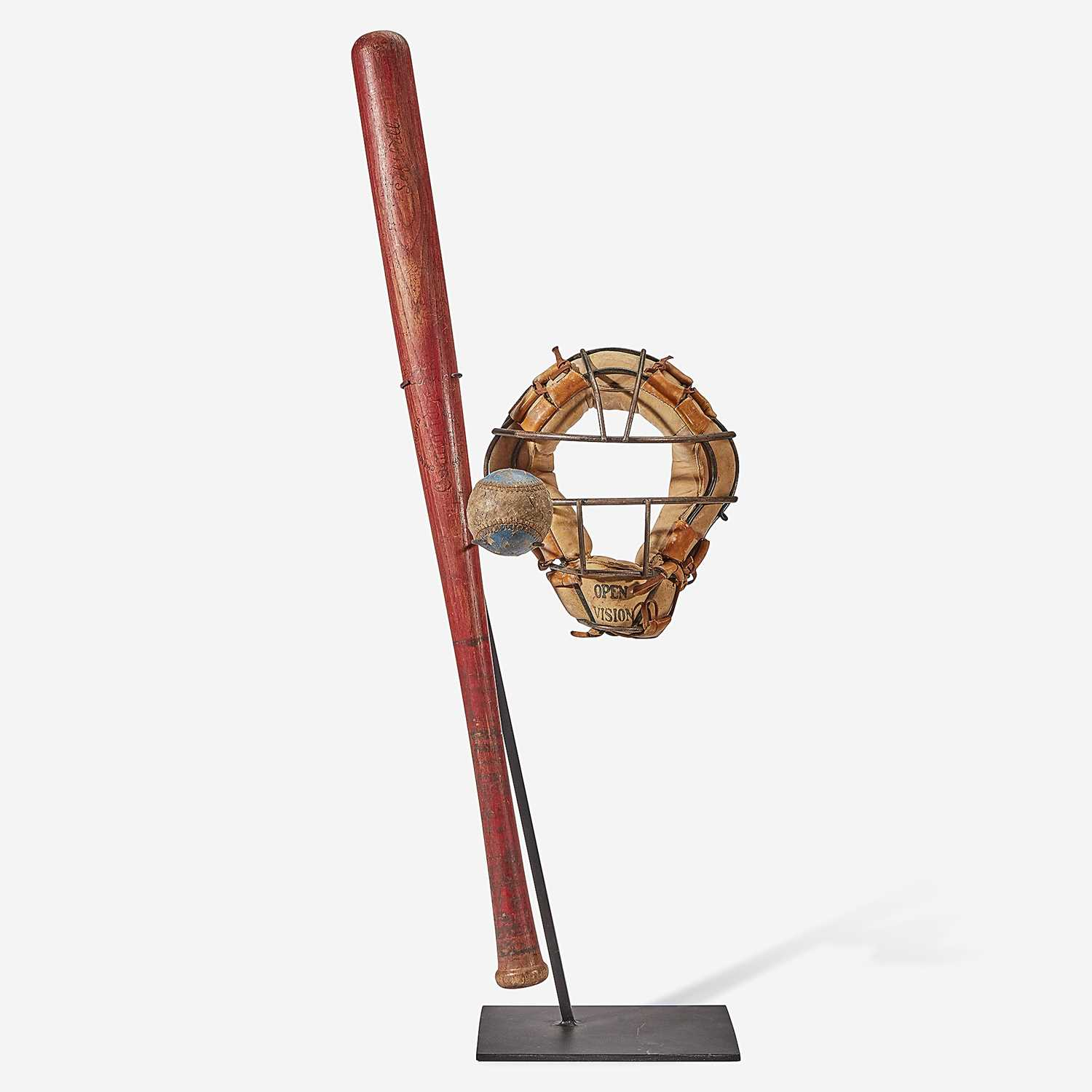 Lot 245 - A baseball assemblage: red stained softball bat, catcher's mask and practice ball