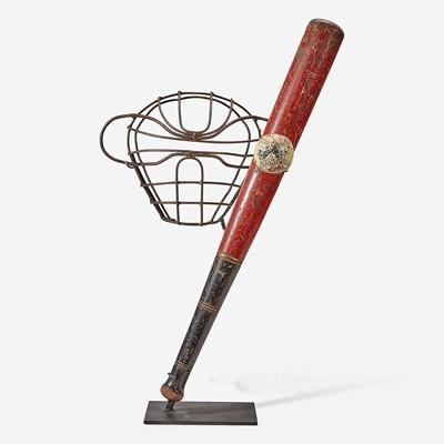 Lot 242 - A baseball assemblage: catcher's mask, presentation bat and ball