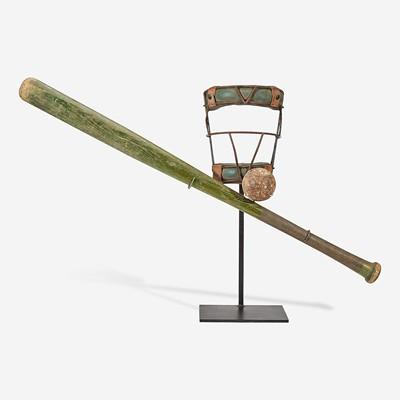 Lot 241 - A baseball assemblage: bat, umpire's mask and ball