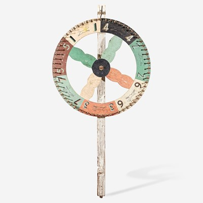 Lot 252 - A painted carnival wheel with stenciled figures of Pit bulls