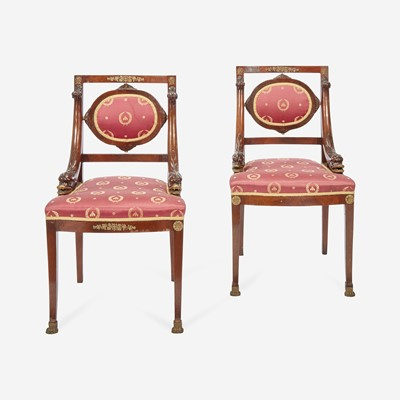 Lot 44 - A Pair of Louis Phillippe Ormolu-Mounted Mahogany Bergeres