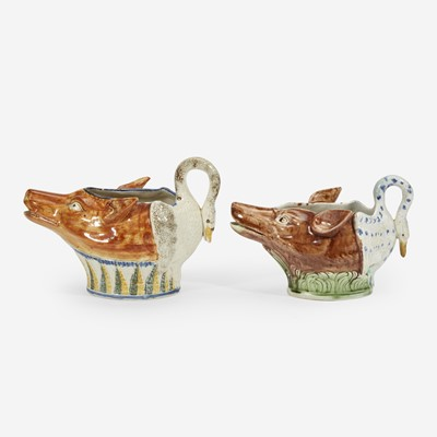 Lot 83 - Two English fox and goose pearlware sauce boats