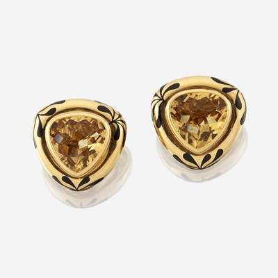 Lot 118 - A pair of eighteen karat gold, citrine, and enamel earrings, Elizabeth Gage