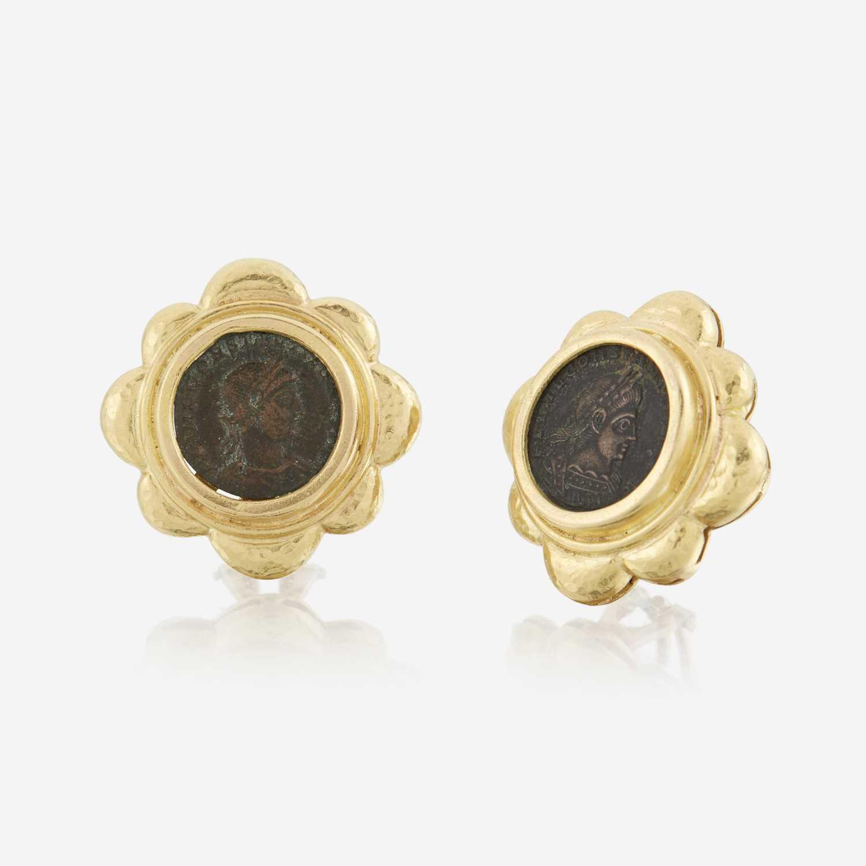Lot 29 - A pair of eighteen karat gold and coin earrings, Elizabeth Locke