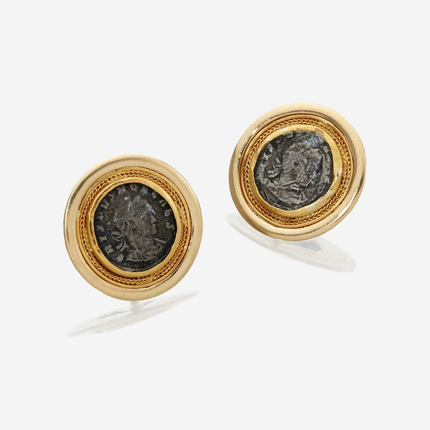 Lot 28 - A pair of fourteen karat gold and coin earclips