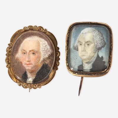 Lot 4 - Two commemorative portrait miniatures of George Washington