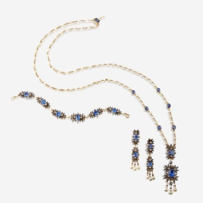 Lot 153 - A sapphire, diamond, and seed pearl suite