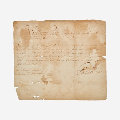 Lot 47 - [Philadelphia & Pennsylvania] Penn, William