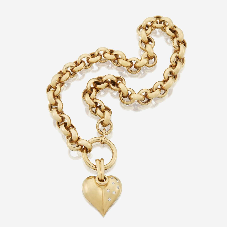 Lot 88 - An eighteen karat gold necklace and diamond pendant necklace