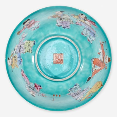 """Lot 33 - A Chinese turquoise ground """"Boys"""" bowl 五彩松石绿地""""童子""""碗"""