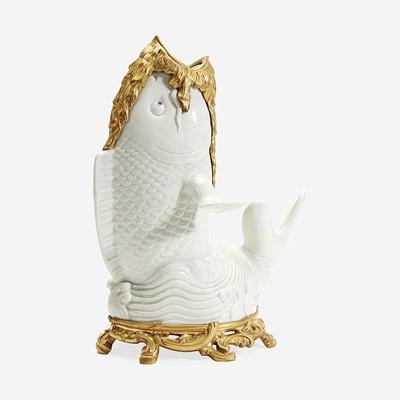 Lot 77 - A Japanese Gilt Bronze-Mounted White-Glazed Koi-Form Vase