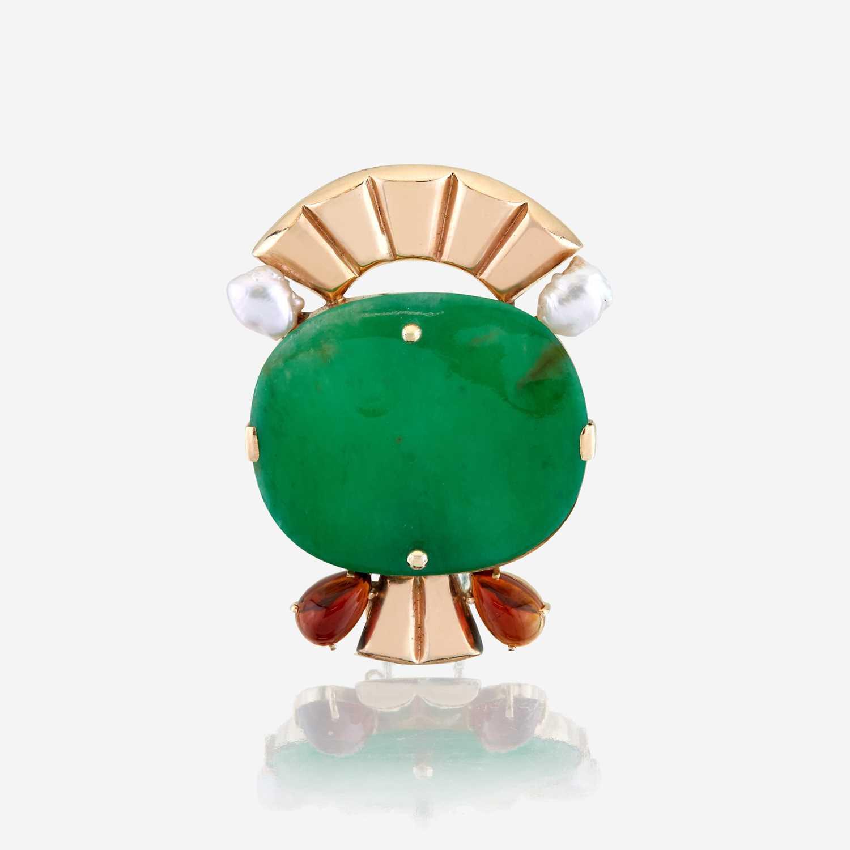 Lot 19 - A jadeite jade, amber, cultured pearl, and fourteen karat gold brooch, Wedderien