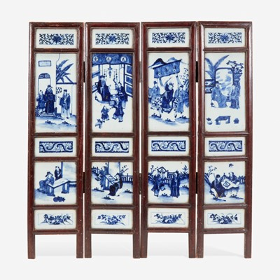Lot 62 - A Chinese blue and white four-panel porcelain screen 中国青花瓷四开屏风