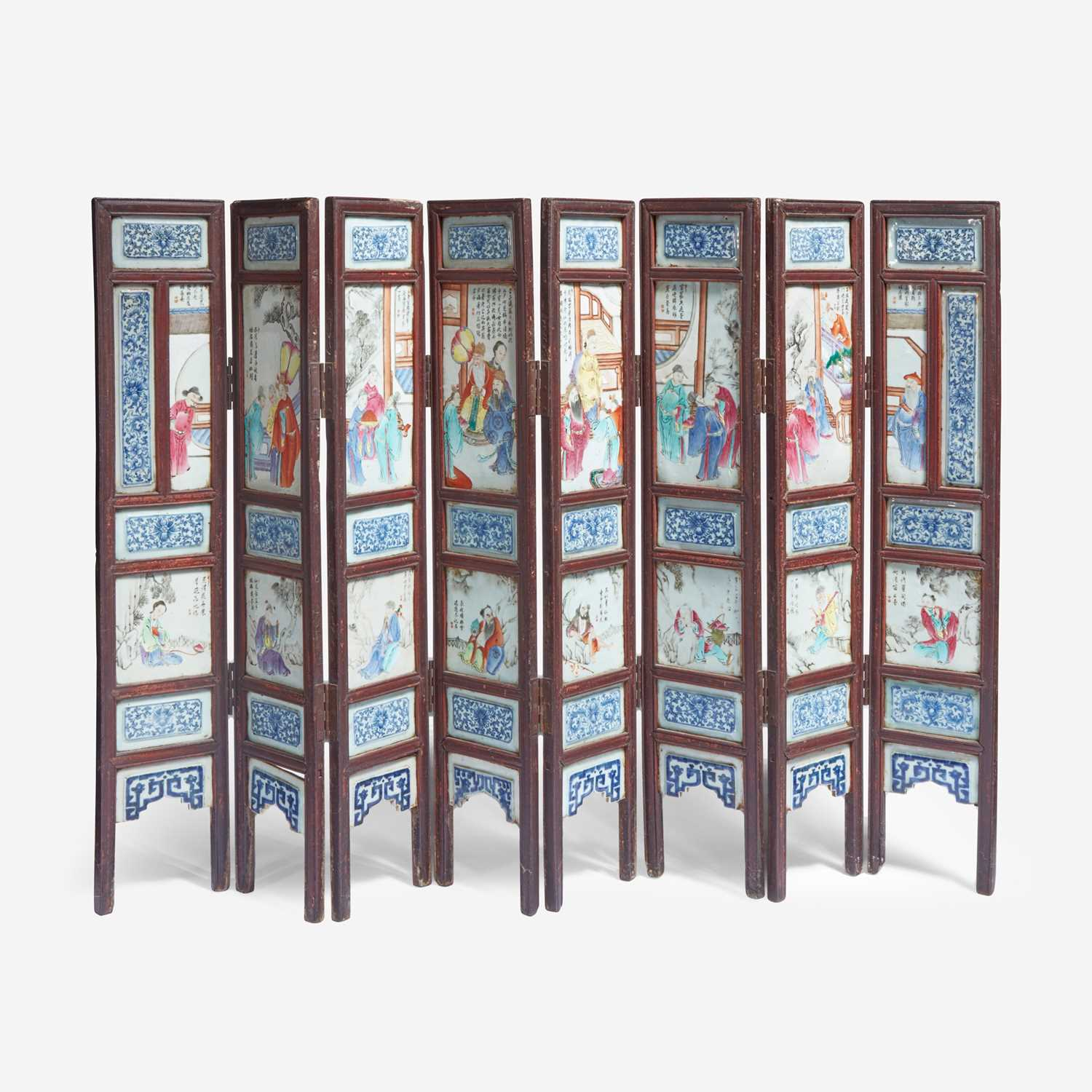 Lot 61 - A Chinese famille rose-porcelain mounted eight-panel screen 洋彩八开瓷屏风