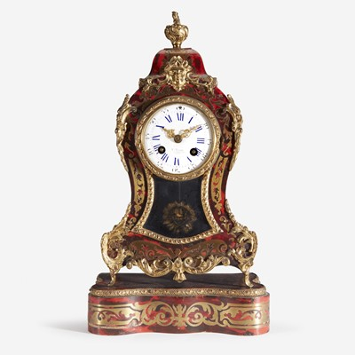 Lot 21 - A Louis XVI Style Ormolu-Mounted Brass-Inlaid Red Tortoiseshell Boulle Marquetry Bracket Clock on Stand*
