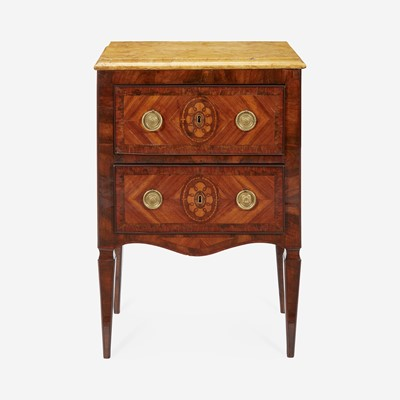 Lot 159 - An Italian Neoclassical Walnut and Fruitwood Marquetry Side Table with Marble Top