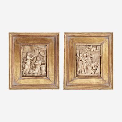 Lot 148 - Two Framed Carved Alabaster Reliefs