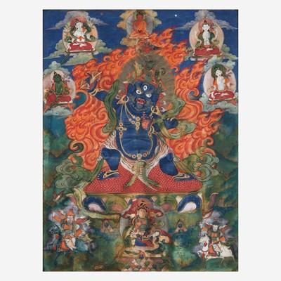 Lot 152 - A Tibetan Thanka depicting Vajrapani 唐卡绘金刚手菩萨