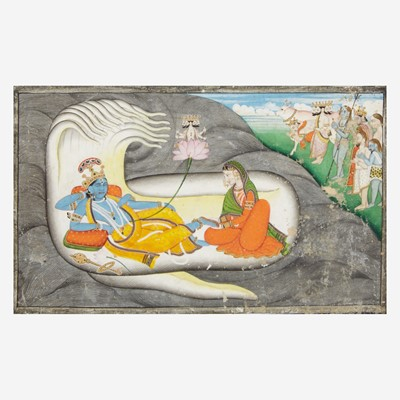 Lot 151 - Three Indian miniatures depicting Vishnu and a scene possibly from the Ramayana 毗湿奴袖珍画像三幅
