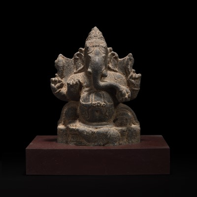 Lot 156 - A carved stone figure of Ganesh 象神石雕