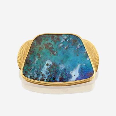 Lot 155 - A boulder opal and gold enhancer