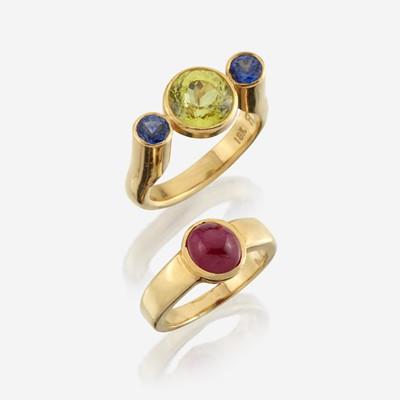 Lot 161 - Two gem-set and eighteen karat gold rings