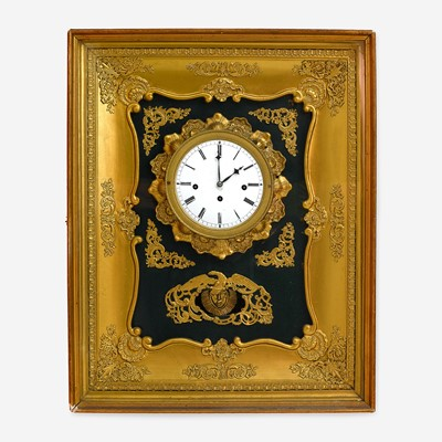 Lot 56 - An Unusual French Gilt Bronze, Gilt and Green Painted Wood Wall Clock