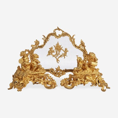 Lot 7 - A Large Pair of Louis XV Style Gilt Bronze Figural Chenets