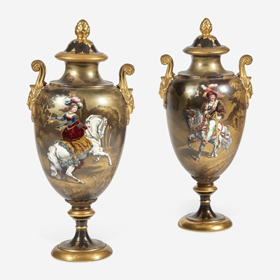 Lot 54 - A Pair of Sèvres Style Parcel-Gilt and Enameled Covered Vases