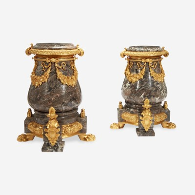 Lot 13 - A Pair of Gilt Metal Mounted Variegated Gray Marble Pedestals