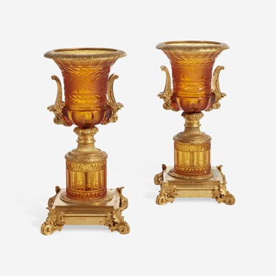 Lot 58 - A Pair of French Gilt-Bronze Mounted Cut-Glass Urns