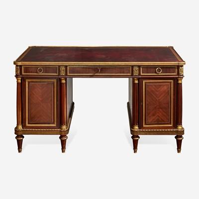 Lot 24 - A Fine Louis XVI Style Gilt Bronze Mounted Kingwood and Tulipwood Pedestal Desk